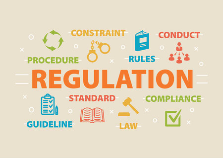 REGULATION. Concept with icons. Illustration