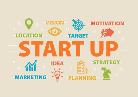 founding: Start up. Concept with icons.