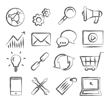 SEO Doodle Icons Vector Illustratie