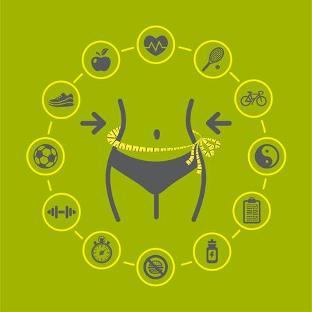 Illustration de perte de poids avec des icônes de santé et de remise en forme