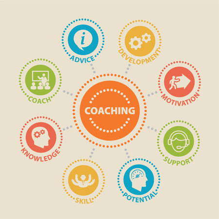 A coaching concept icon set vector illustration.