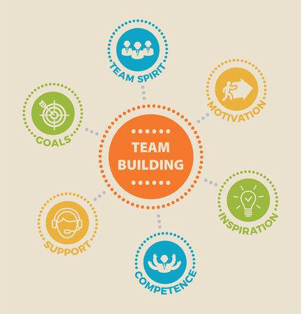 Team gebouw concept pictogram illustratie.