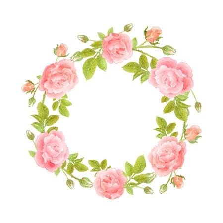 Wreath flower in watercolor illustration.