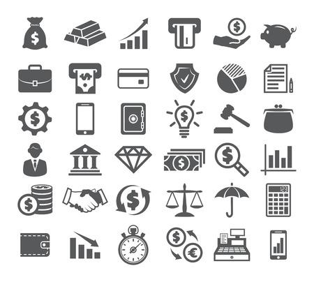 Iconos de finanzas en blanco Foto de archivo - 90504902