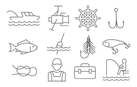 Fishing line icons set on white background