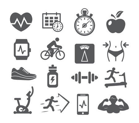 Fitness and gym icons set on white background Illustration