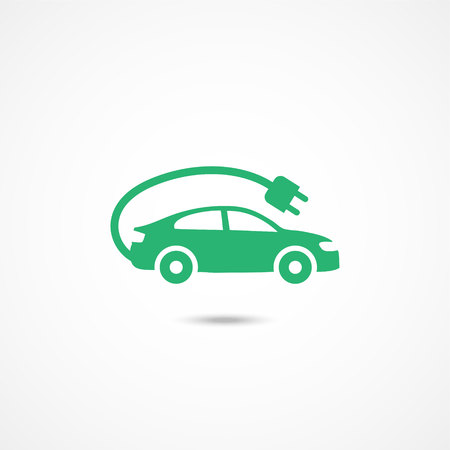 Electric car icon on white background Ilustracja