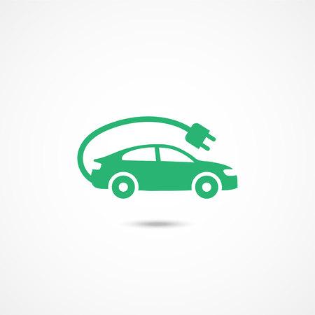 Elektrische auto pictogram op witte achtergrond Stock Illustratie