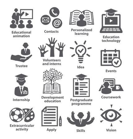 Pictogrammen bedrijfsbeheer Pack 35 Pictogrammen voor bedrijven, onderwijs, carrière, strategie, marketing voor training Vector Illustratie