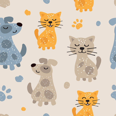 Childish seamless pattern with cute dogs and cats. Scandinavian style. Childish texture for fabric, textile