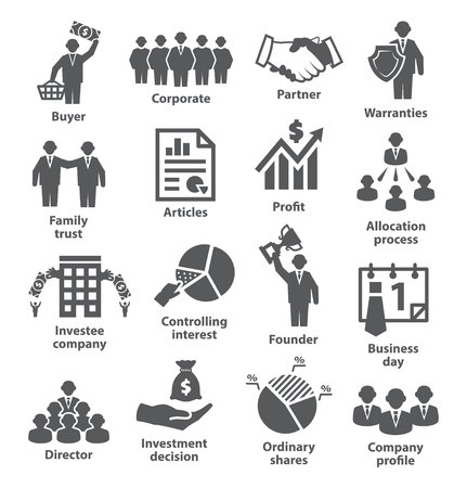 Business management icon set. 向量圖像