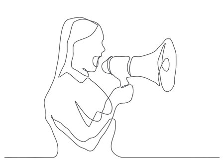 Communication one line drawing of a woman holding a megaphone.
