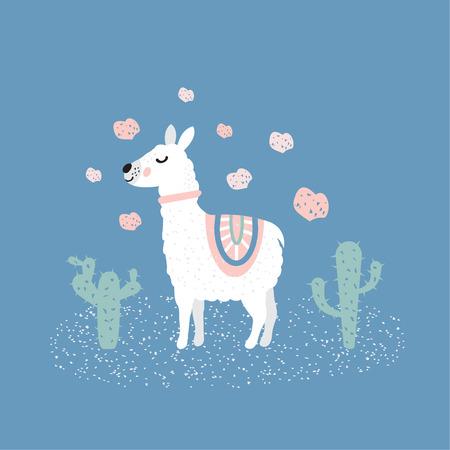 Cute llama illustration  イラスト・ベクター素材