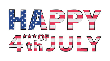 Happy 4th of July Illustration in the double exposure technique