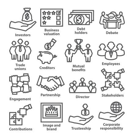 Zestaw ikon linii zarządzania biznesem