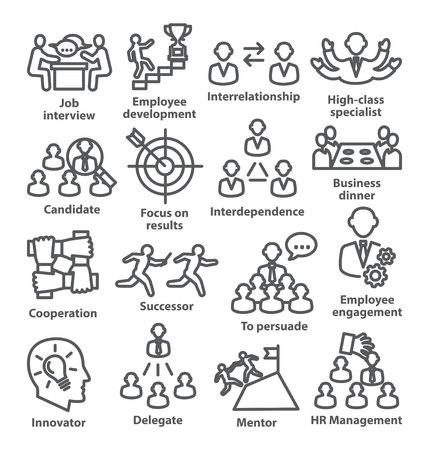 Business management line icons Pack 33 on white background Ilustração Vetorial
