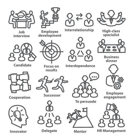 Business management line icons Pack 33 on white background Illustration