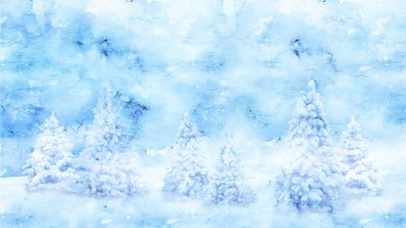 Watercolor Winter vector landscape