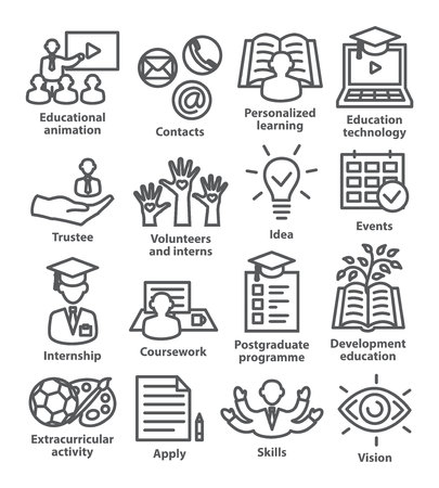 Business management line icons Pack 35 Icons for business, education, career, strategy, training marketing