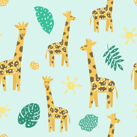 Modèle sans couture enfantin avec girafe mignonne. Texture créative pour tissu, textile