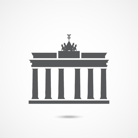 Brandenburg gate icon on white background Vettoriali