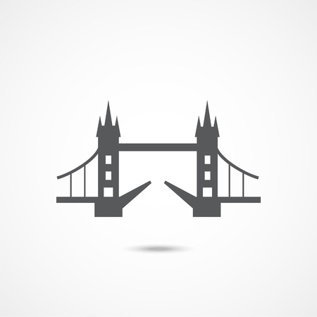 London Tower Bridge icon on white background