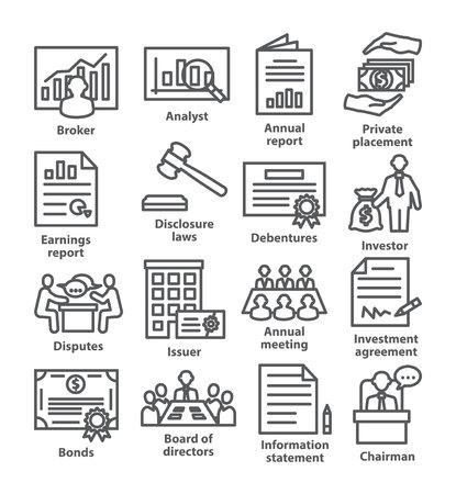 Business management line icons Pack 37 on white
