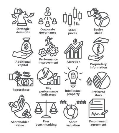 Icônes de ligne de gestion d'entreprise Pack 42 sur fond blanc Vecteurs