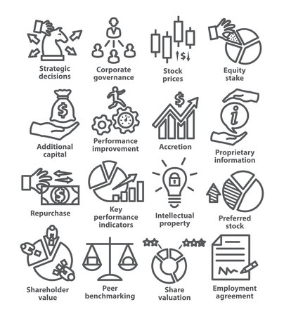 Business management line icons Pack 42 on white background Illustration