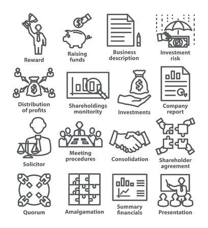 Business management line icons Pack 43 on white Illustration