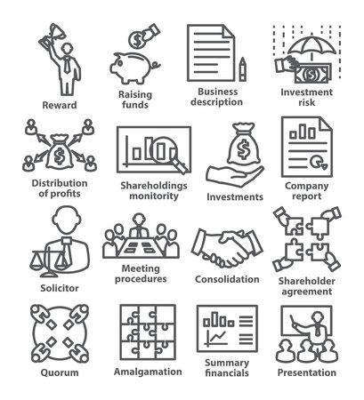 Icônes de ligne de gestion d'entreprise Pack 43 sur blanc