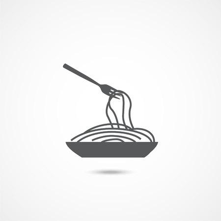 Spaghetti pasta icon on white background Ilustração