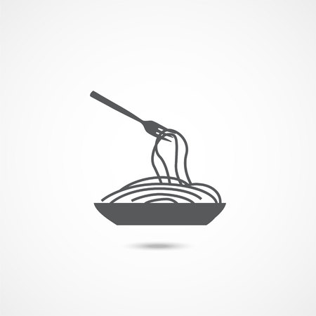 Spaghetti pasta icon on white background Illustration
