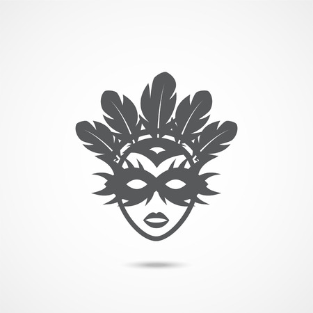 Carnival mask Icon on white background
