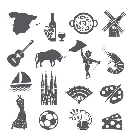 Spain icons set. Spanish traditional