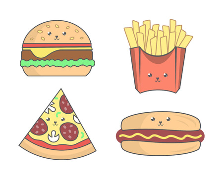 Fast food in trendy kawaii style on white background