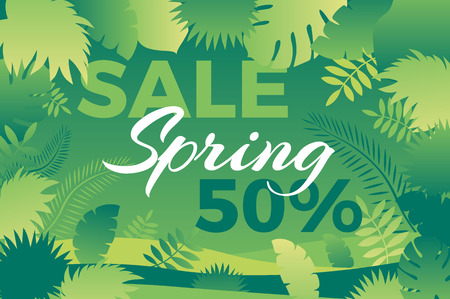 Spring sale banner with leafs Vector illustration for promotions, magazines, advertising, web sites