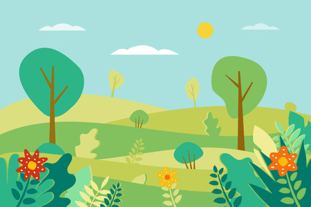 Spring landscape Vector illustration in trendy flat style