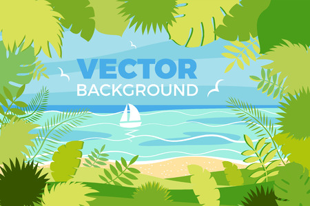 Summer landscape Vector illustration in trendy flat style