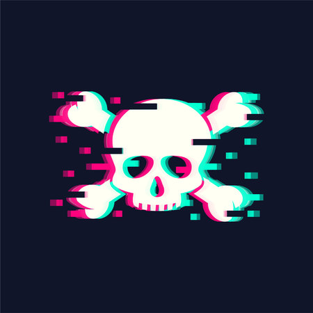 Skull Vector illustration in trendy glitch style 일러스트
