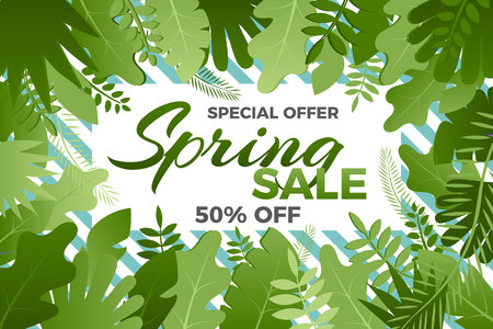 Spring sale banner with leafs Vector illustration in trendy style