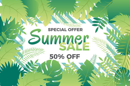 Summer sale banner with leafs Vector illustration in trendy style