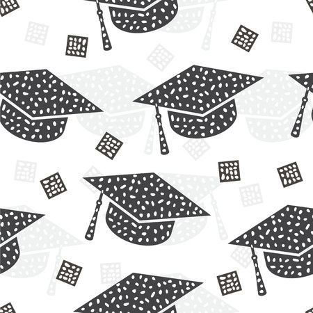Seamless pattern with graduation cap Ilustrace