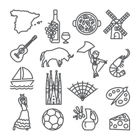 Spain line icons set. Spanish