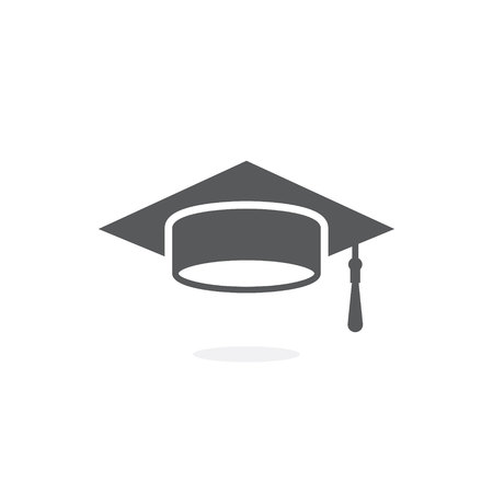 Graduation cap icon on white background