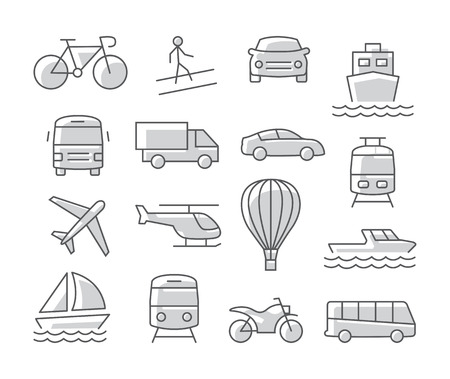 Transport icons set on white background Illustration