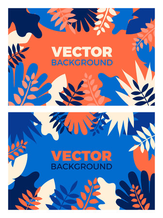 Background with plants and leaves Vector illustration in flat style