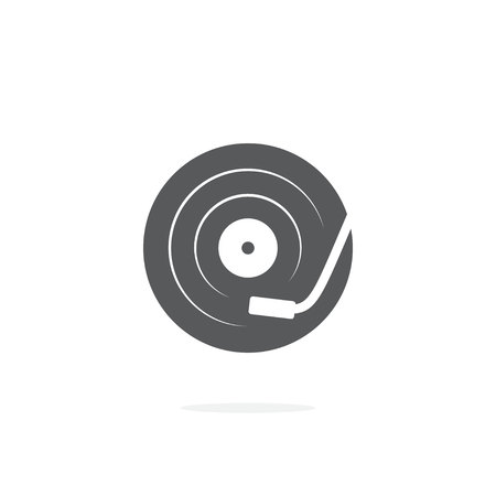 DJ turntable icon on white