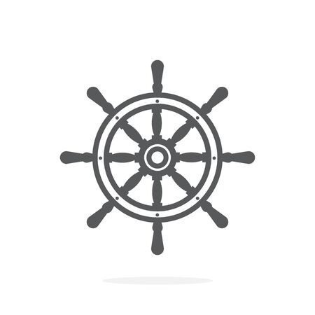 Ship wheel icon on white