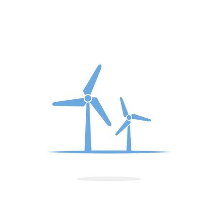 Wind turbine icon on white Illustration